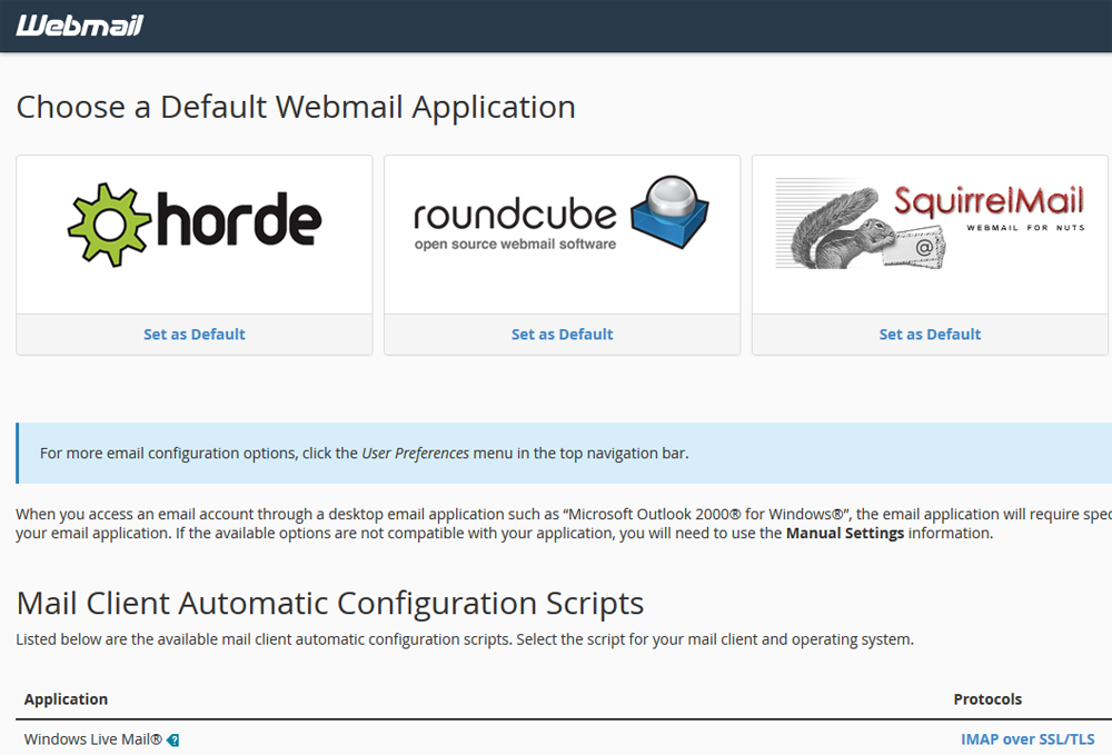 webmail natwell horde squirrelmmail roundcube